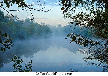 Morning Fog on the autumn river