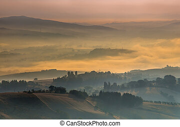Morning Fog over Tuscany Hills, Italy