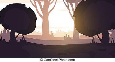 Morning Forest landscape Background in the sunshine. Vector Illustration.