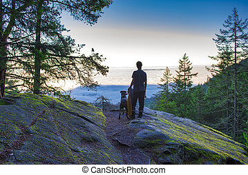 Morning haze from the top of a mountain in Ladysmith,...