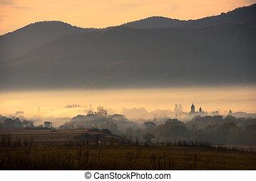 Morning haze over the village