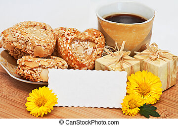 morning holiday coffee - a cup of coffee with cookies,...