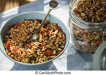 Morning homemade granola - Serving of homemade granola on...
