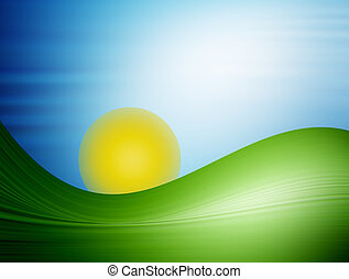 morning - illustration of landscape with mountain sun and ...