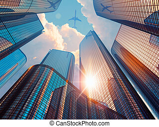 Morning in downtown district - Creative abstract business...