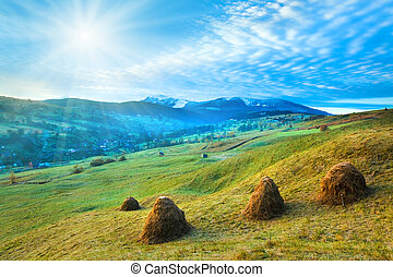 Misty morning in autumn Carpathian mountain, Ukraine (Goverla and Petros Mount in far) with sunshine and haystack