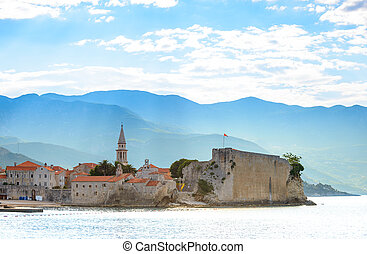 Morning in Old Town of Budva. Montenegro, Balkans, Europe....