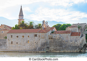 Morning in Old Town of Budva. Montenegro, Balkans, Europe. ...