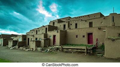 Morning in Taos Pueblo - The multi-storied adobe buildings...