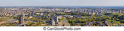 Morning in the Vilnius city - aerial view of capital.