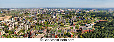 Morning in the Vilnius city - aerial view