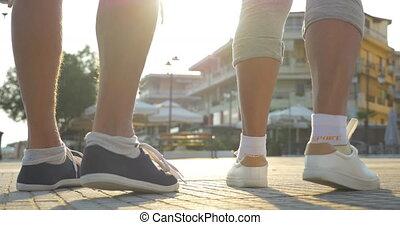 Morning jog begins - Low angle shot of senior and and woman...