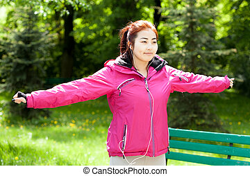 Morning jogging in a park