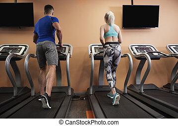 Morning jogging on the treadmill