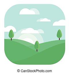 Morning Landscape Modern Conceptual Design Illustration Vector