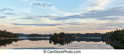 morning landscape on a forest lake