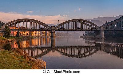 Morning landscape on the Adda river