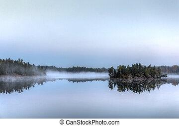 lake with fog
