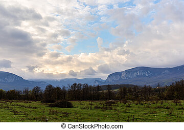 Morning landscape with cloudy sky