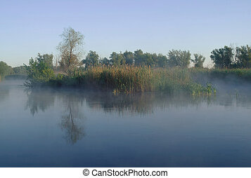 Morning landscape with fog on the river