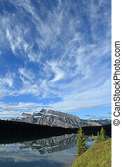 Mount Rundle reflected in Two Jack Lake