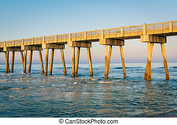 Morning light on the M.B. Miller County Pier and Gulf of Mexico, in Panama City Beach, Florida.