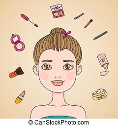 Morning make up - Beautiful girl before applying make-up...