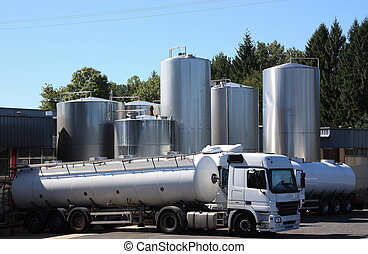 Morning milk delivery - Two refrigerated tankers make the...