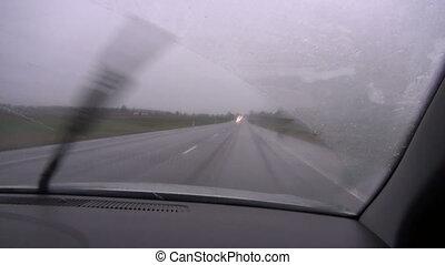 morning  mist and rain on road