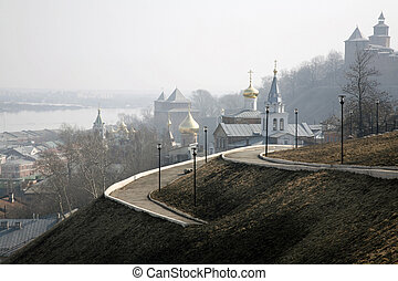 Morning mist in the Kremlin. Nizhny Novgorod, Russia.