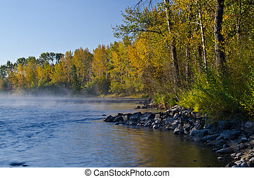 Morning Mist on the Autumn River