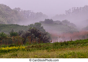 Morning mist on the hill with green grass near the river in early morning