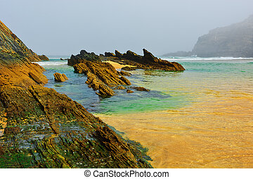 Morning Mist - Rocky Coast of Atlantic Ocean in Portugal