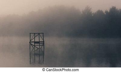 Morning misty fog on pond
