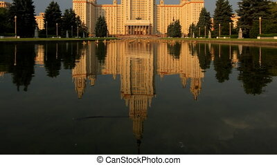 morning Moscow State University fountain time lapse pan