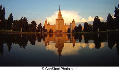 morning Moscow State University fountain time lapse