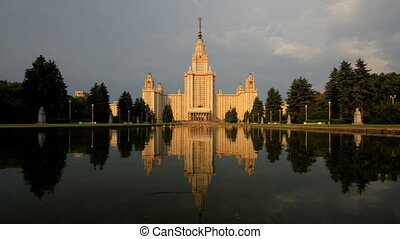 morning Moscow State University fountain time lapse zoom -...