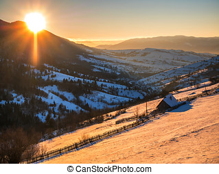 Morning of winter in the mountains