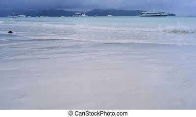 Morning on a paradise beach with white sand and clear water...