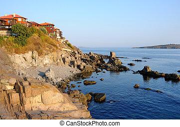 Morning on Black Sea coast in old town of Sozopol, Bulgaria