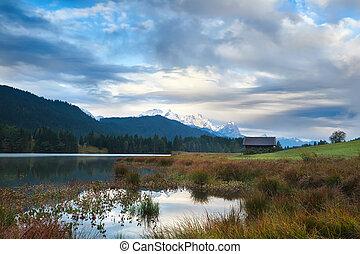 morning on Geroldsee lake and Karwendel mountains