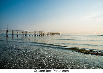 Morning on the beach in Rimini, Italy.