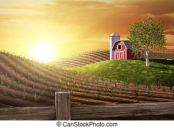 Morning on the Farm - Red barn and tractor on a farm with...