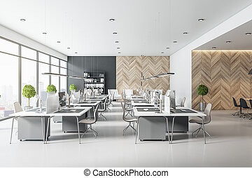Morning open space office with wooden wall, light furniture, two rows of workplaces