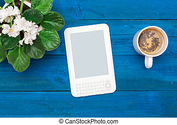 morning over a cup of green tea with ebook