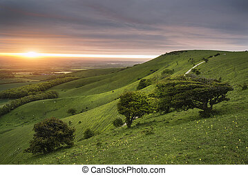 Morning over rolling English countryside landscape in Spring...