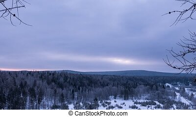 Morning over the winter forest. Time Lapse