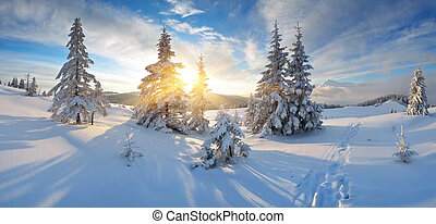 Morning panorama of mountains - Frosty morning in the ...