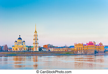 morning panoramic view of the city of Rybinsk, Russia