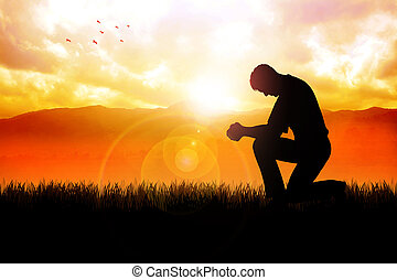 Morning Pray At Beautiful Landscape - Silhouette...
